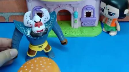 蝎子精经常去葫芦娃家吃东西,葫芦娃制作了汉堡,他又准备去吃