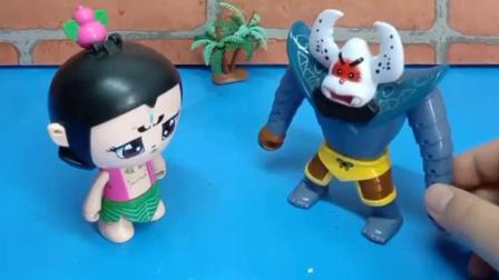 蝎子精拿走了佩奇和大宇的零食,他们去找葫芦娃,帮忙拿回来