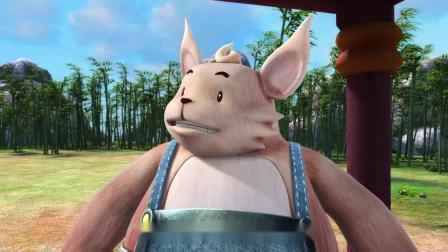 猪猪侠:抱抱熊实力强大,拿着一根竹子就打败五灵卫,大招当平A