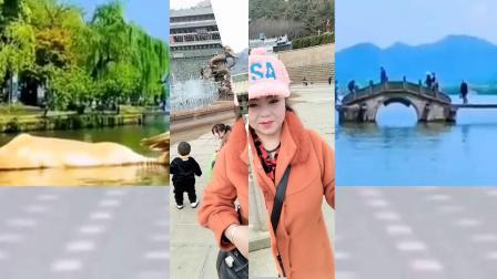吕芳广场舞及家人看喷泉