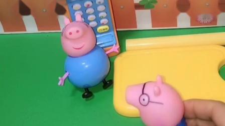 猪爸爸穿着乔治的衣服,猪妈妈穿了猪爸爸的衣服,都穿错了呢