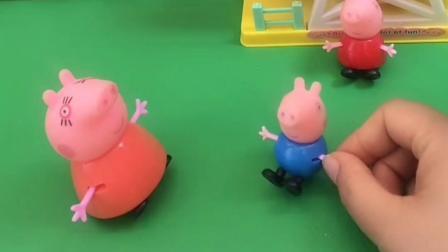 猪妈妈带佩奇乔治出来散步,小猪佩奇去的地方,弟弟也想去