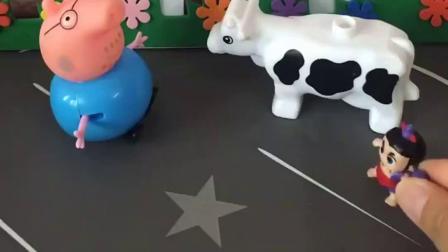 小葫芦娃出来玩啦,到了小猪佩奇家门口,认识了猪爷爷家的小动物