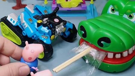 佩奇的棒棒糖被大鳄鱼抢了,乔治来帮助佩奇,小猪佩奇下不来口