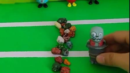 佩奇和乔治把石头放在了马路上,汽车过不去,小鬼把石头挪开