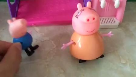猪妈妈让小猪乔治做作业,乔治就想休息吃零食,就是不想写作业