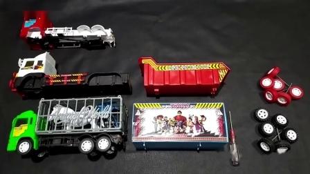 混乱的汽车玩具零件,为红色绿色白色车头,找到正确的车轮车厢