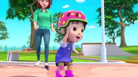 超级宝贝jojo:周末玩滑轮,记得戴防护保护自己不受伤