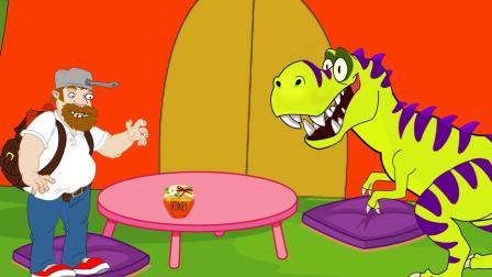 大叔和恐龙一起吃饭!