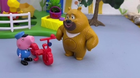 瑞贝卡把自行车送给乔治,熊二看到误会乔治