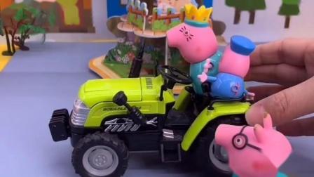 猪妈妈带乔治猪爸爸出门,可猪爸爸还没有坐上,猪妈妈就开走了