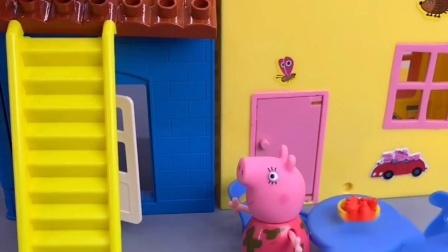猪妈妈做饭屋里全是烟,猪爸爸看到上房修好了烟囱