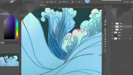 3.国潮插画元素-水的上色方法