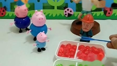 乔治和猪爸想吃爆爆珠,却受到了猪爷爷嫌弃