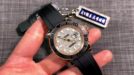 大v腕表 大唯时刻 劳力士金游艇改装后镶钻满天星包金腕表!