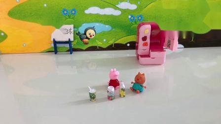 小猪佩奇和小猫可真享受,喝那么多冷饮