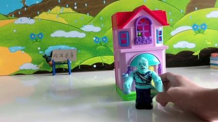 儿童玩具:僵尸在外面使坏,奥特曼在变身器里出不来了