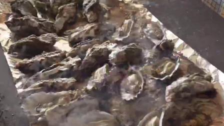 火炉上烤的自然产牡蛎