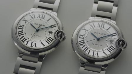 真假手表鉴别8:正品卡地亚蓝气球42对比HBBV6厂新旧款蓝气球 斗表VS出品