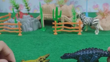 小鳄鱼邀请小恐龙去家里玩耍