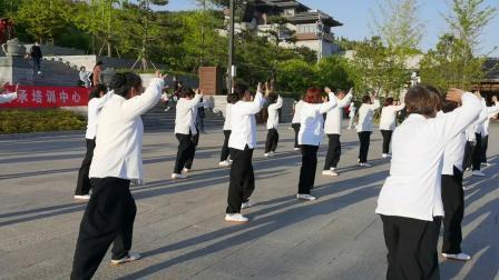苏河老师带领学员尼山圣地表演传统杨氏太极拳三十七式。