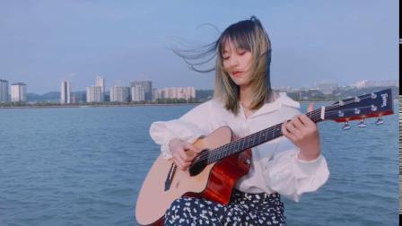 张大猫指弹改编《崩坏3》印象曲,楚门吉他TF35 配上江边风景美哭了