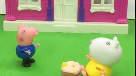 乔治没吃过汉堡,乔治吃汉堡被小羊苏西拒绝,佩奇对乔治真好!