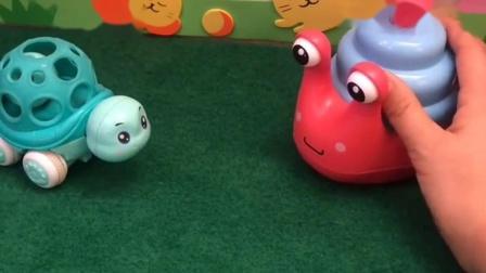 乌龟和蜗牛遇到了,乌龟说蜗牛没有他走得快,蜗牛不甘示弱