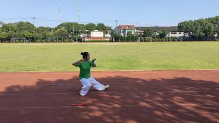 建党百年《太极功夫扇》拳+扇由厉惠娥演练2021年6月6日中学操场