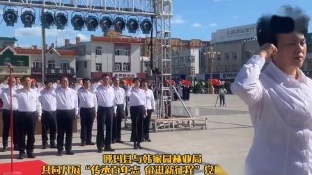 """视频:呼玛县与韩家园林业局开展""""传承百年志奋进新征程""""党旗接力活动"""