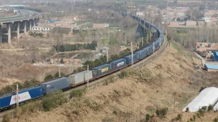 20210313 144516 三车交汇!陇海铁路HXD3双机中欧班列交汇HXD3CA运煤专列交汇宁西铁路HXD3双机货列