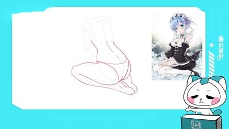 跪坐的泳装妹纸如何画?泳装妹纸跪坐画法_轻微课网校