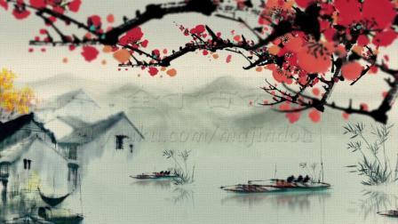 水墨江南水乡虚拟合成(6m6s)大屏背景墙视频-全十古云210706
