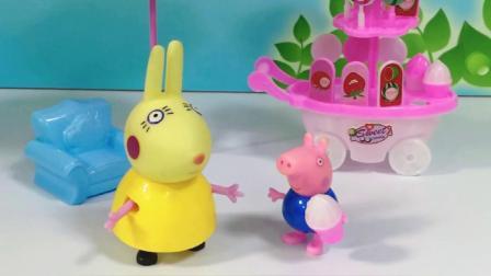 乔治买冰激凌,不料没带钱,兔小姐给猪爸爸打电话