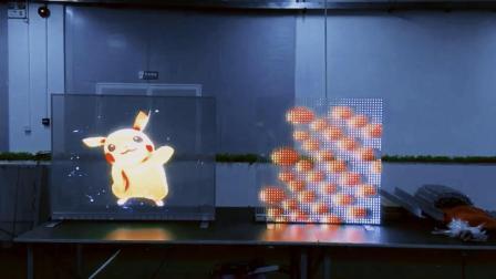 5米距离播放P3.91-7.81和P20贴膜LED透明屏效果测试