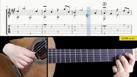 斯卡拉蒂-奏鸣曲K.322-吉他带谱教学-有谱-GQ313-2