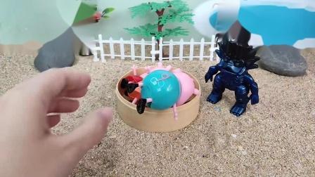 儿童玩具:巨人僵尸来救小猪一家