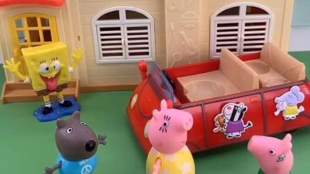猪妈妈带乔治去游乐场,路上遇到了小朋友,猪妈妈送小朋友找爸爸