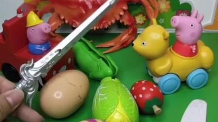 佩奇切完水果才能找小羊苏西玩,乔治帮佩奇切水果