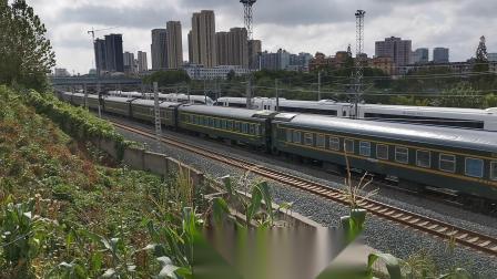20210827 100148 阳安铁路客车K423次列车出汉中站交汇西成高铁D6860次列车