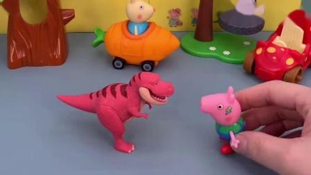 乔治捡到了小恐龙,乔治给小恐龙喂食物,小恐龙长成大恐龙