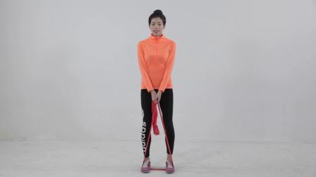 弹力带简易训练下肢屈腿硬拉重复15