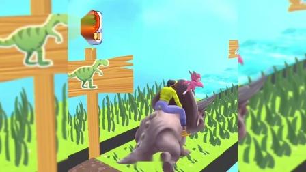 骑个大恐龙:我骑上大恐龙,轻松把石头撞碎掉!