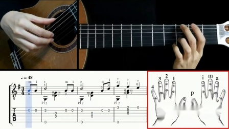 勃拉姆斯(摇篮曲)古典吉他演奏示范