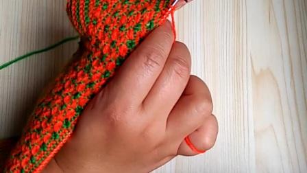 第二集手工编织太阳花毛线棉鞋教学视频中邦棉鞋下