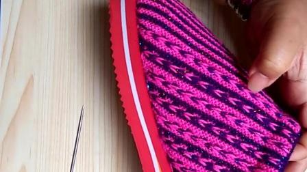 手工编织毛线棉鞋拖鞋小辫子花棉拖鞋上集,一共两集