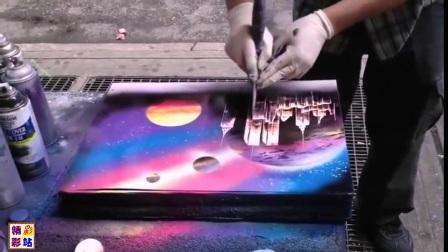 街头即席表演快速完成一幅优美啧油画