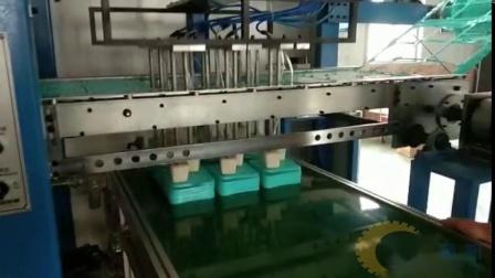 三工位绿色饭盒盖子一次性打包盒餐具机器