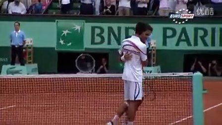 2011法网费德勒半决赛完胜德约精彩片断和胜利一刻