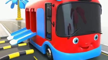 汽车玩具卡通:许多小巴士在玩旋转滑梯.avi